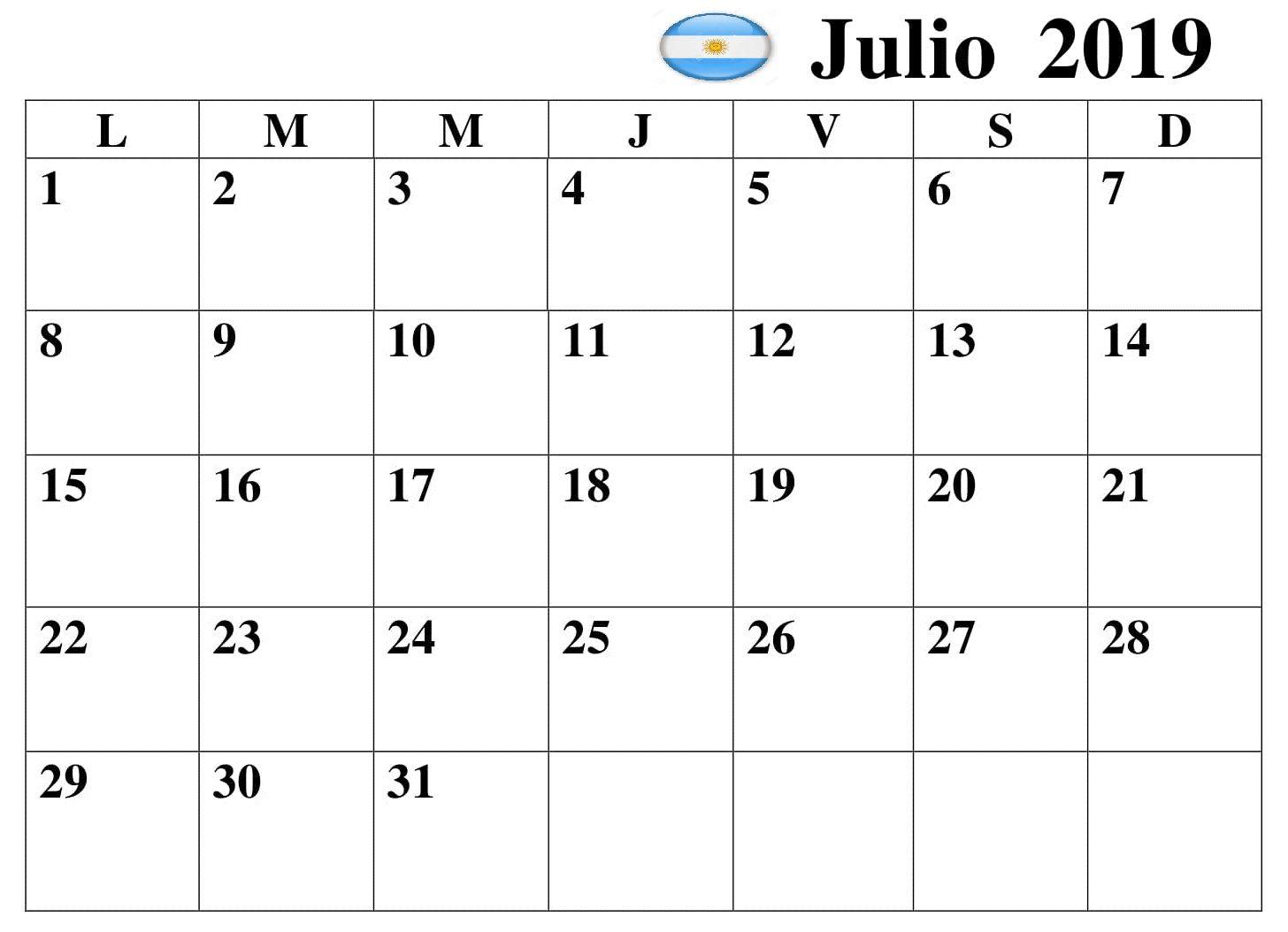 Julio Calendario 2019.Julio Calendario 2019 Argentina Pdf Calendario Julio 2019