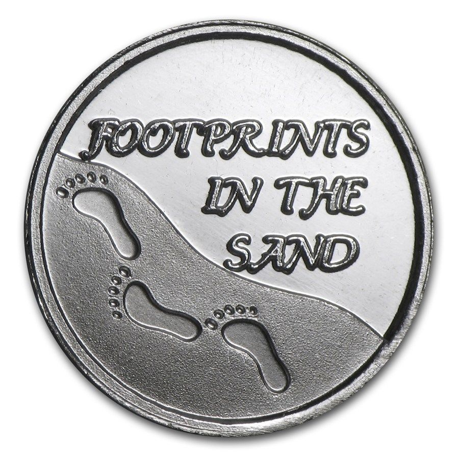 Gift 1 20 Oz Silver Round Coin Footprints In The Sand