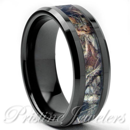 Anium Oak Real Forest Camo Ring Mossy Tree Wedding Band Men Black Silver 8mm