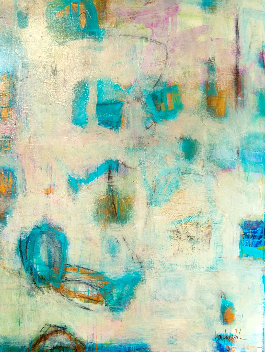 40 Ink Painting Ideas For Inspiration: 3x4 Happy To Be Blue Acrylic, Ink, Charcoal On Canvas