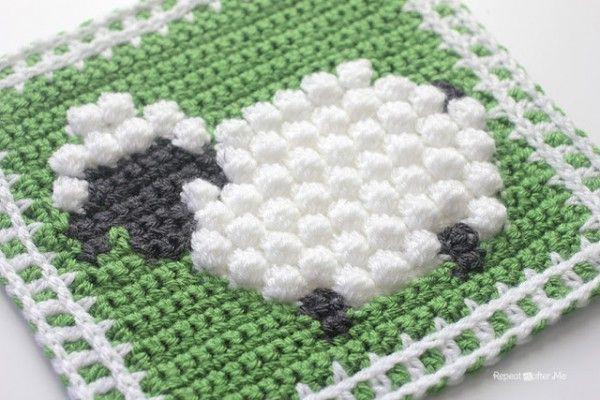 crochet sheep square | mantas | Pinterest | Manta, Tejido y Ganchillo