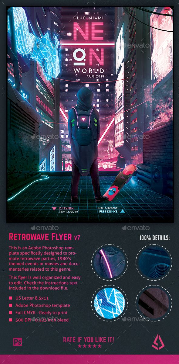Synthwave Flyer v7 Cyberpunk World Retrowave Poster