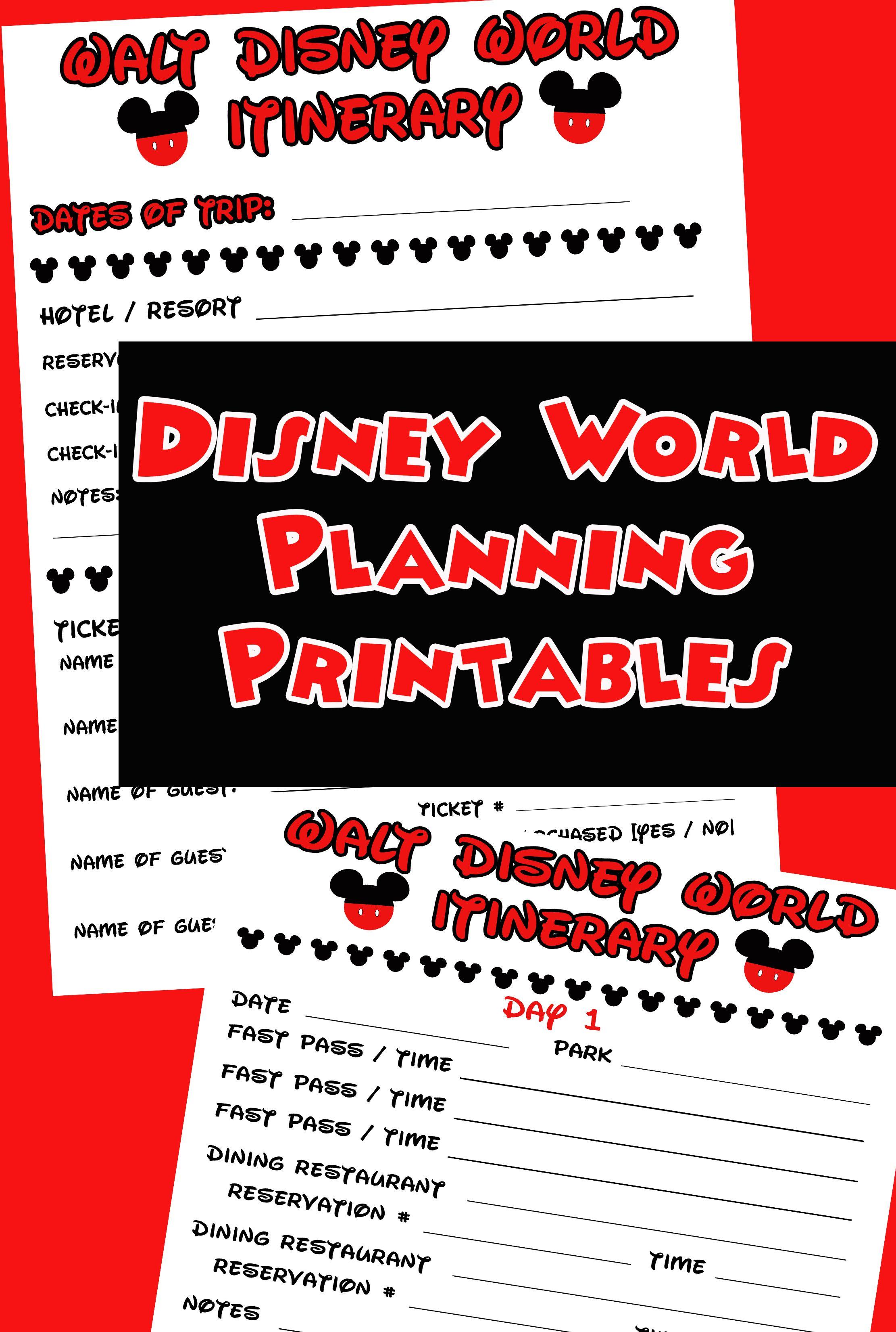 disney agenda  u0026 itinerary free printable