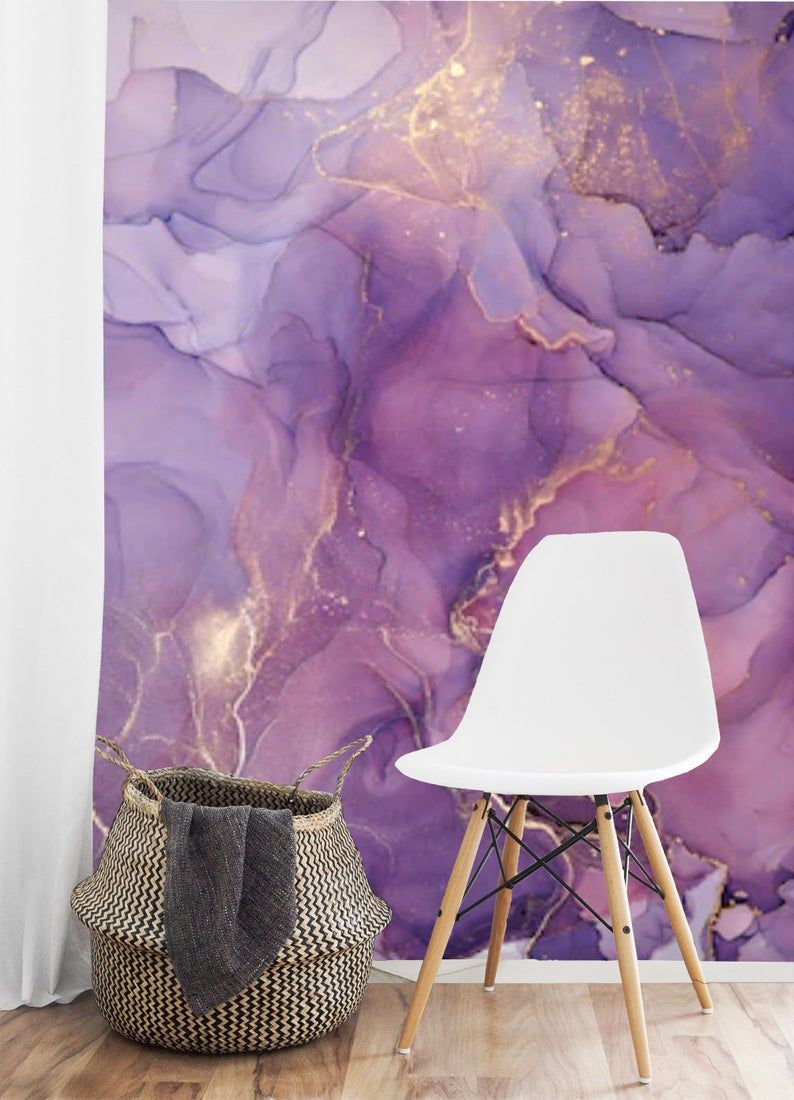 Peel And Stick Purple Gold Abstract Watercolor Wallpaper Mural Removable Large Wall Mural Self Adhesive Custom Vinyl Wallpaper Accent Wall Large Wall Murals Purple Wallpaper Accent Wall Wallpaper Accent Wall