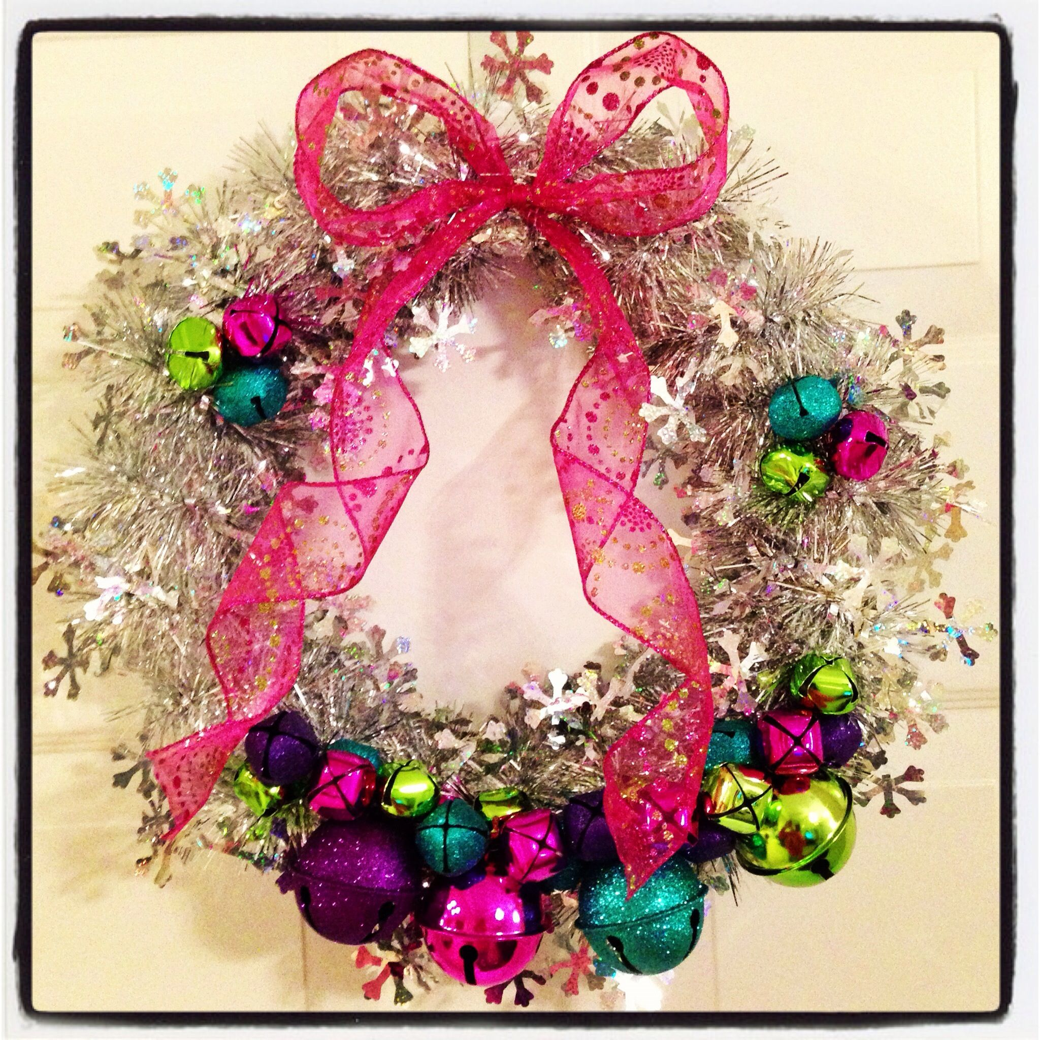Wreath I made! Bells and tinsel garland Christmas