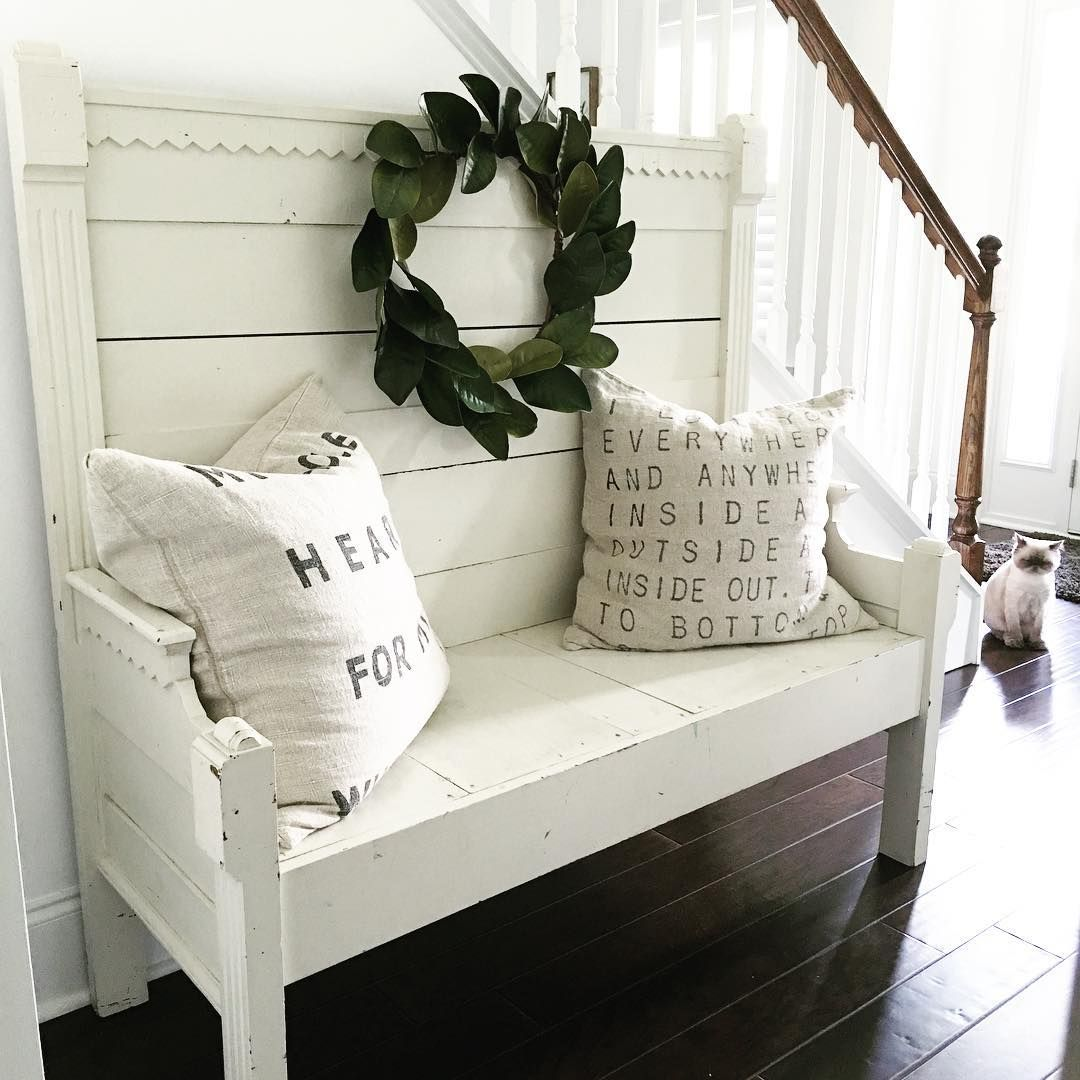 Rustic Farmhouse Bench See This Instagram Photo By Abowlfulloflemons