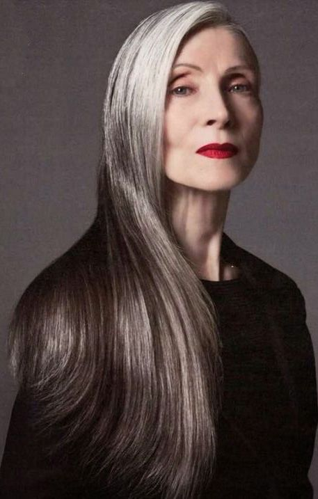 Pin by The Art of Aging on 50+ | Hair | Long gray hair ...