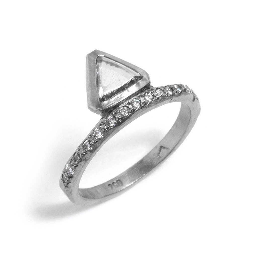 geometric triangle gifts jen triangular designs front shop engagement ring v lesea rings