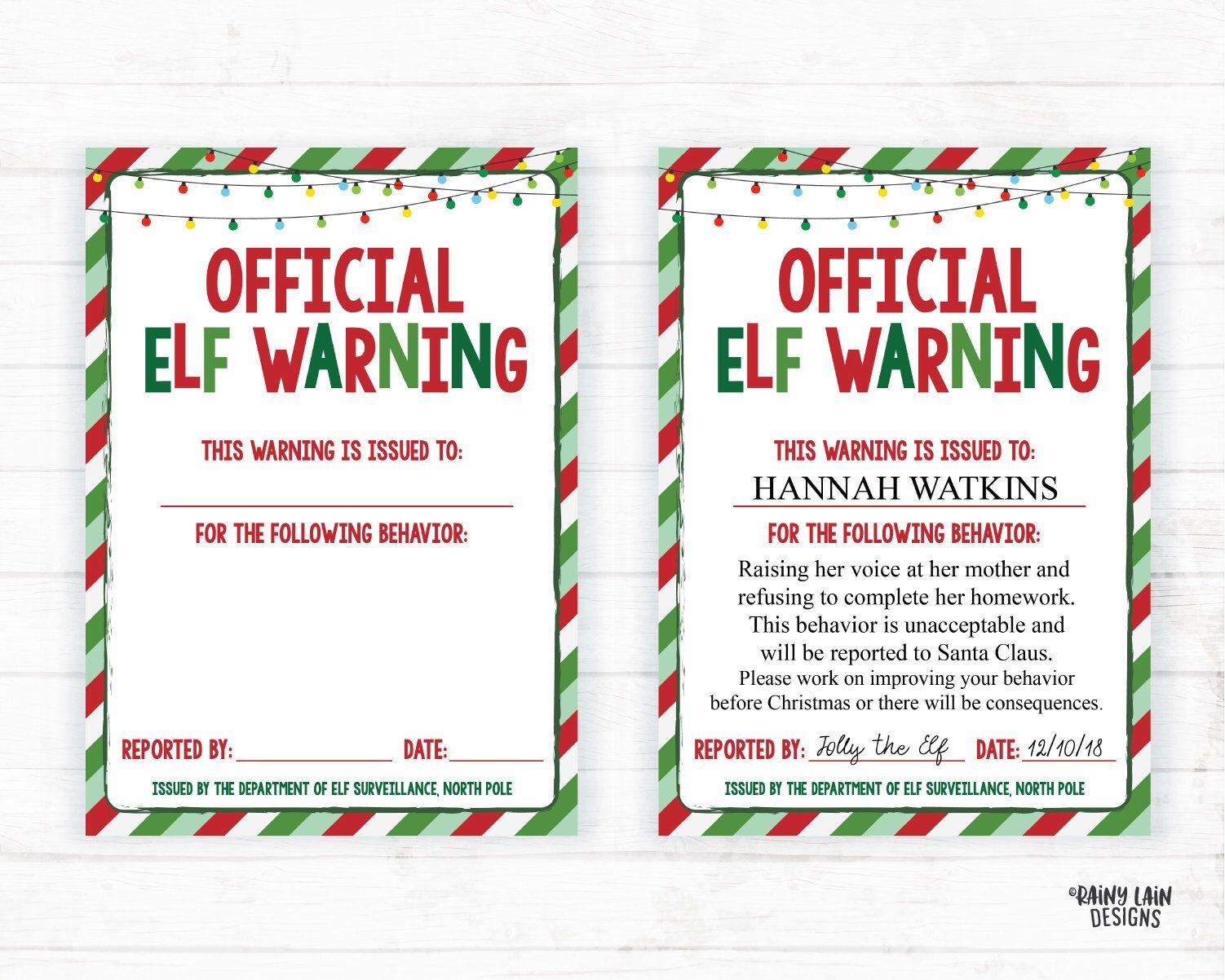 Editable Elf Warning, Official Elf, Elf on the, Elf