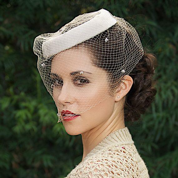 Vintage Wedding Hairstyles With Birdcage Veil: 1940's Retro Wedding Hat With Polka Dot Birdcage Veil