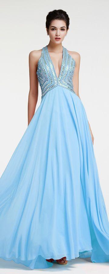 Light Blue Sparkly Backless Prom Dresses Long | Pinterest | Sparkly ...