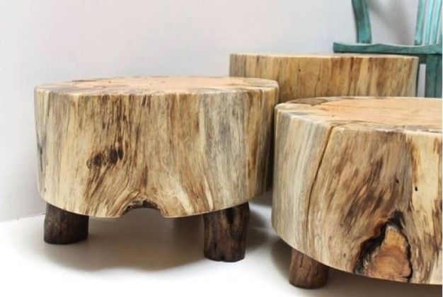 Tree Stump Coffee Table, Side Table, Or Bench Covered With A Piece Of  Leather And Secured With Tacks. Add Casters.   Anythingology | Pinterest |  Upholstery ...