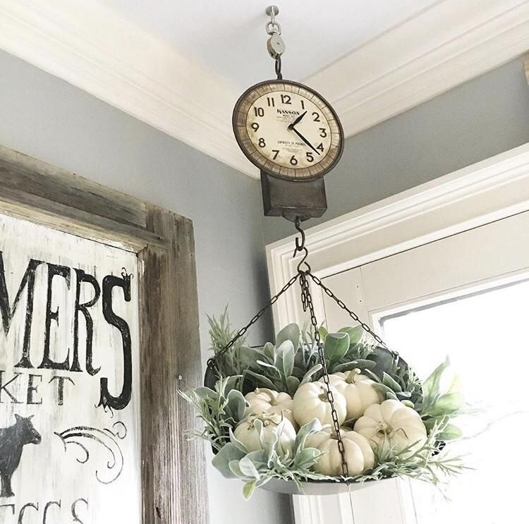Must Have Farmhouse Kitchen Decor Ideas: Hanging Produce Scale Clock