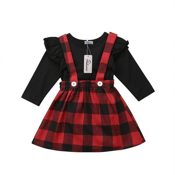 Baby Toddler Little Girls Outfits Ruffles Long Sleeve Shirt Tops Plaid Skirts