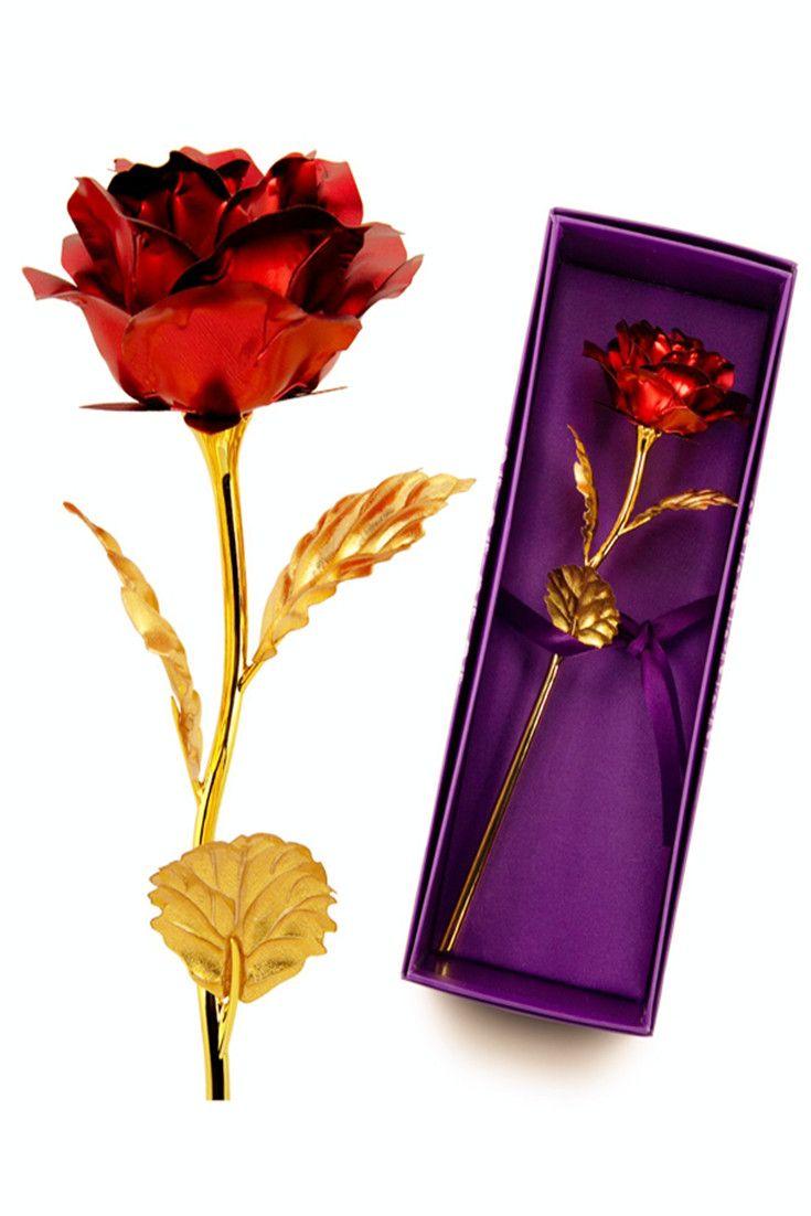 1pcs Gold Plated Rose Flower Valentine Birthday Gift Valentine