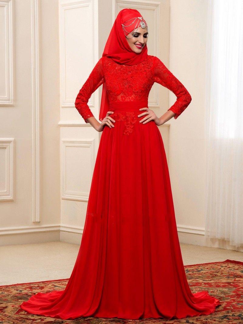 Red muslim wedding dresses modest long sleeve saudi arabic