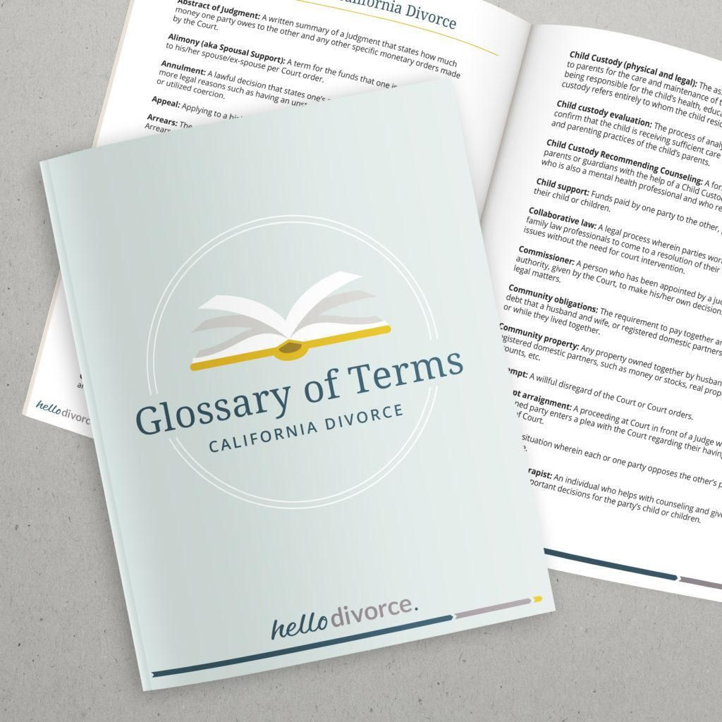 Glossary of terms when learning how to file for divorce