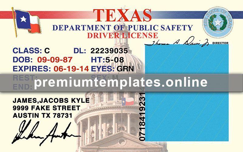 Texas Drivers License editable template v1 Premium