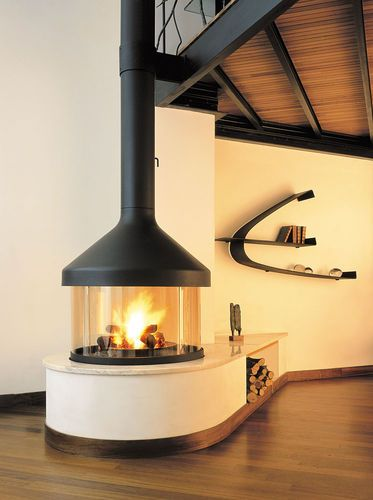 Wood Fireplace Contemporary Closed Hearth Free Standing