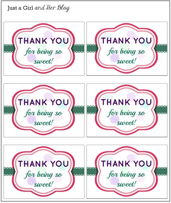 A Sweet And Simple Thank You Gift With Free Printable Small Thank You Gift Thank You Tag Printable Thank You Labels