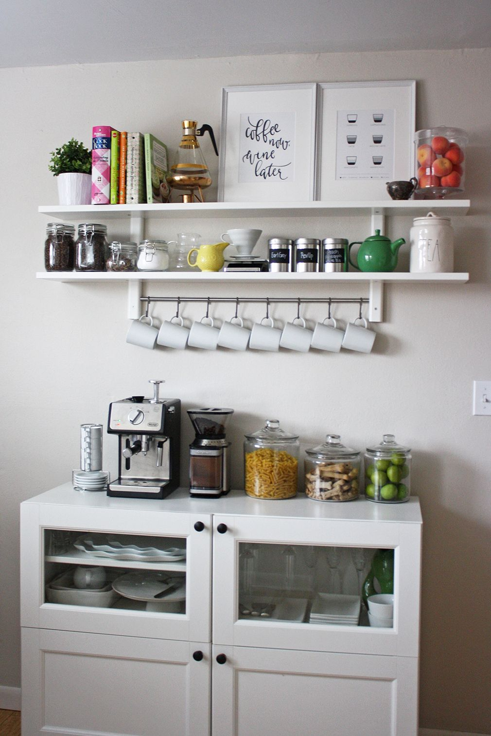 Kitchen Coffee Bar And Open Shelving Decoracao Cozinha Decoracao Cozinha Pequena Espacos Para O Cafe
