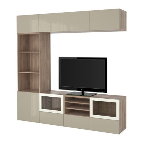 BESTÅ TV storage combination/glass doors, walnut effect light gray, Selsviken high gloss/beige clear glass 94 1/2x15 3/4x90 1/2