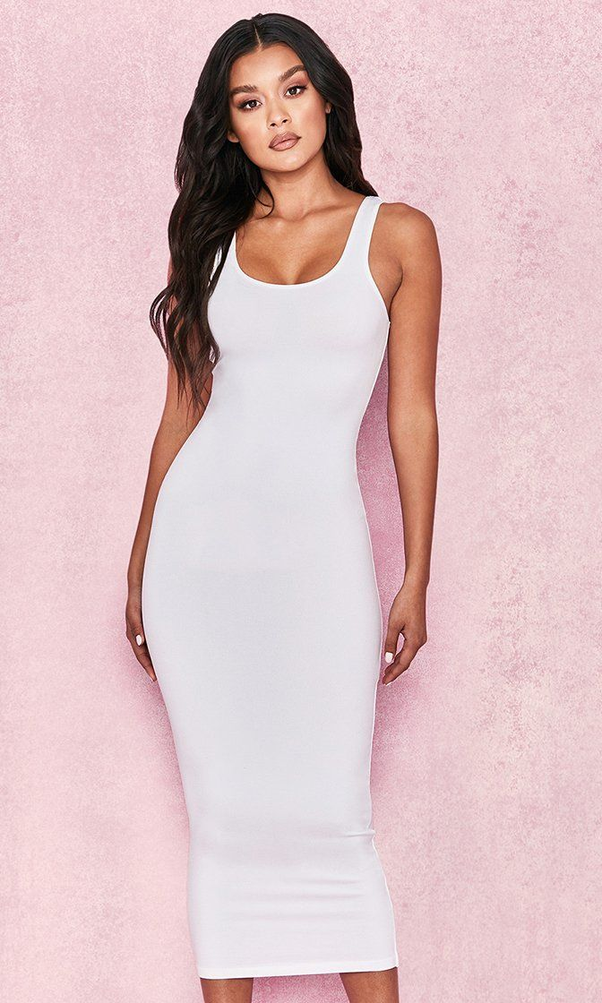 a785a572fe05 Clothing : Bodycon Dresses : 'Tomlin' White Midi Length Vest Dress |  Women's Fashion. in 2019 | Dresses, Bodycon Dress, White midi dress