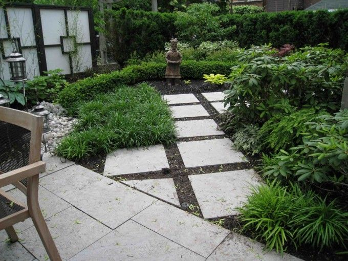 Best Pea Gravel Patio With Concrete Walkway And Shrubs Also Landscape Border Design