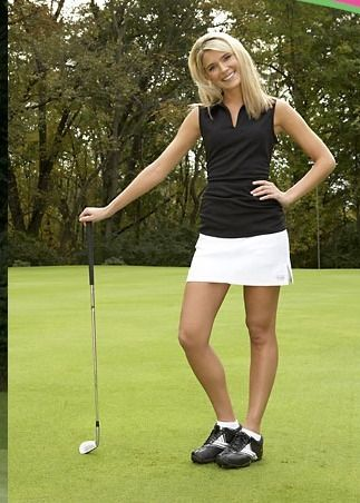 Beautiful Image Of Woman Golfer In Cutoffs And Sandals