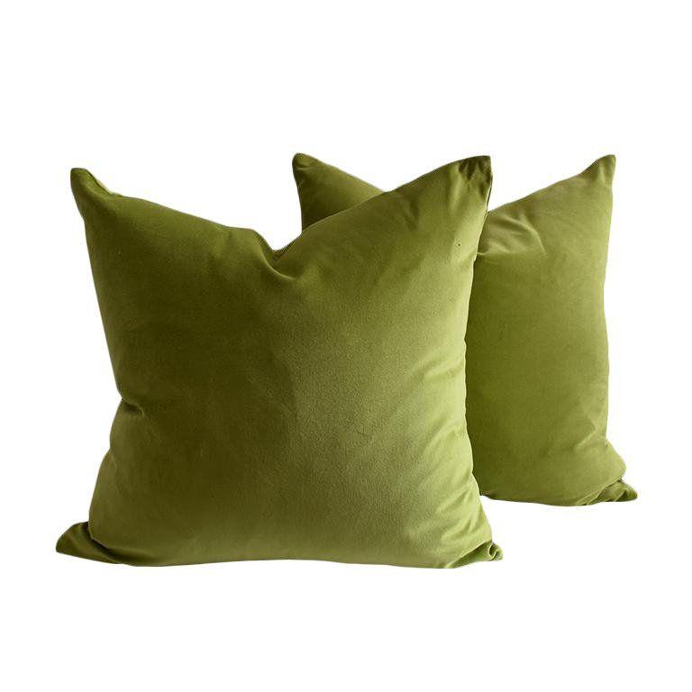 Green Down Filled Chartreuse Citron 19 X 19 With Knife Edge Velvet Pillows A Pair Green Velvet Pillow Velvet Pillows Vintage Pillows