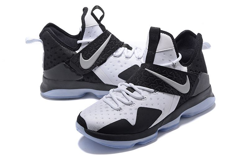 2017 April New Arrival Nike LeBron 14 XIV Oreo Black White Black Cheap -  Click Image
