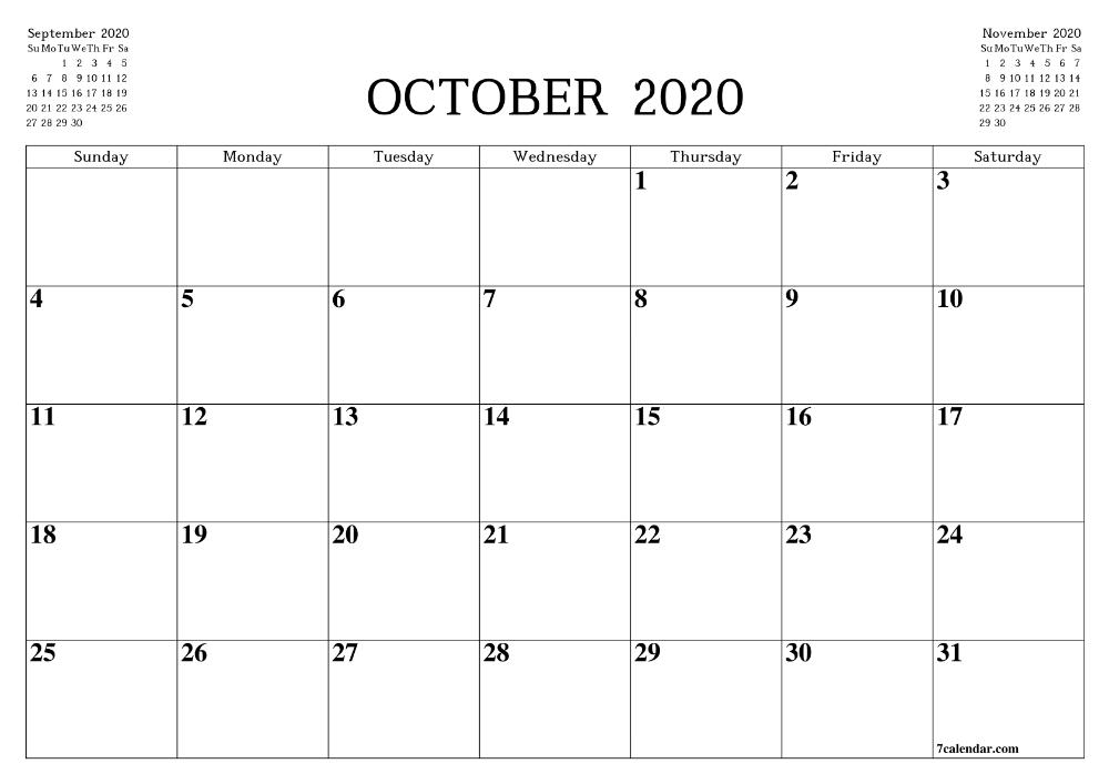 Printable Blank Calendar October 2020 Free Printable Calendar Monthly Monthly Calendar Printable Calendar Printables