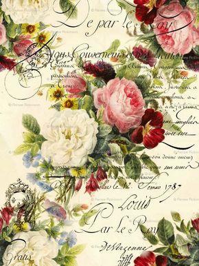 vintage roses printable goodies pinterest motif tissu atmosph re et cartes de no l. Black Bedroom Furniture Sets. Home Design Ideas
