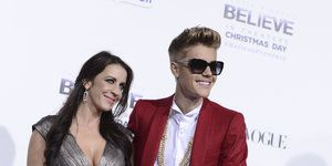 The Biebs with his Mom, Pattie