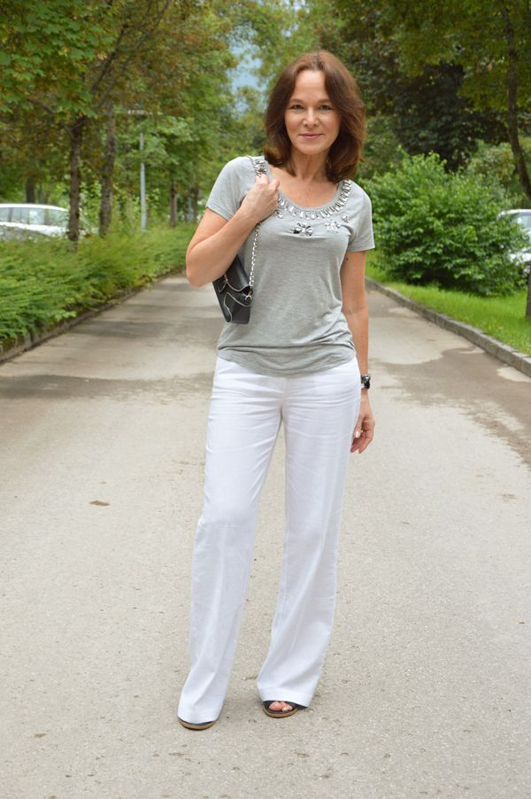 A Simple Grey T-Shirt Glammed-Up  Casual Outfits- Spring -4098