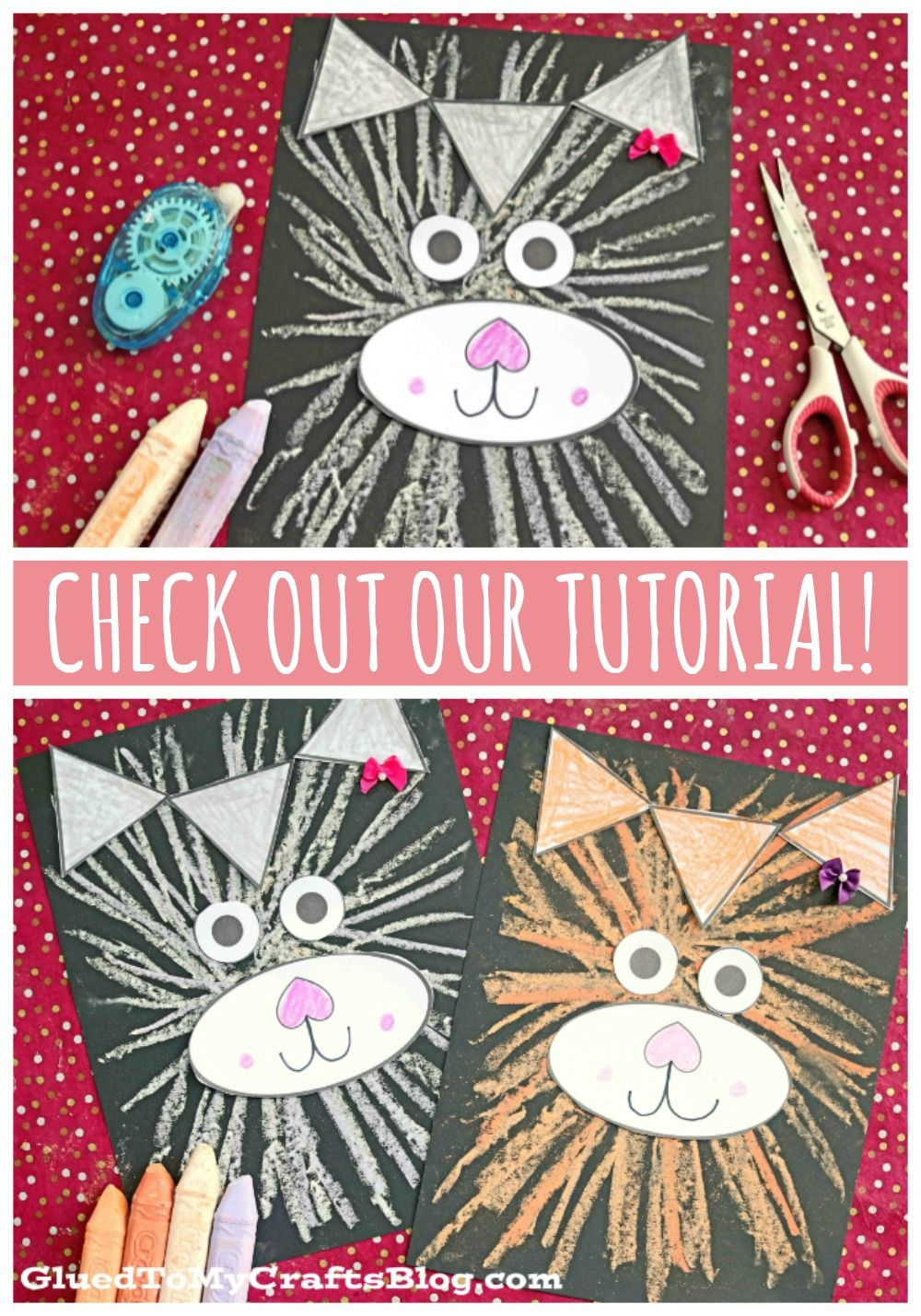 Paper & Chalk Art Cat Craft For Kids To Recreate