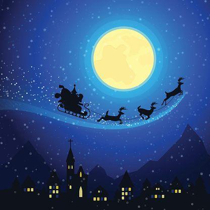 Christmas Town Mountain Landscape with Santa Claus Sleigh - illustrazione arte vettoriale