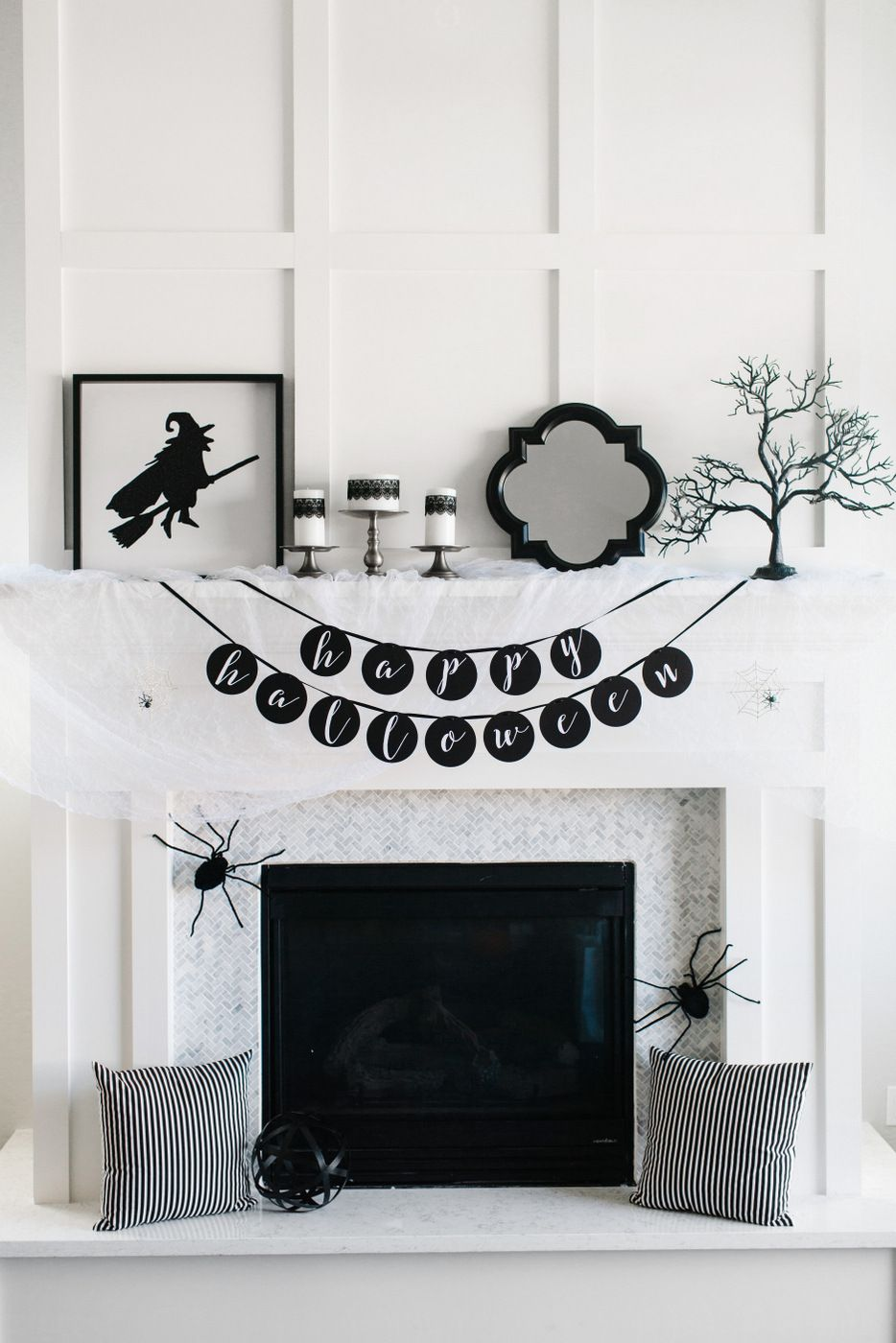 How to Style a Glam Halloween Mantel