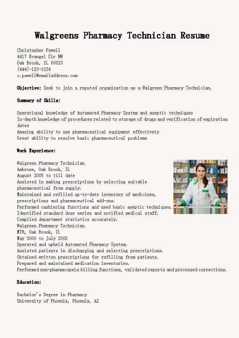 Walgreens Pharmacy Technician Resume Example Pharmacy tech