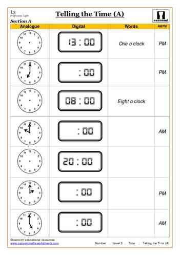 Telling The Time A Maths Worksheet Math Worksheet Time Worksheets Telling Time