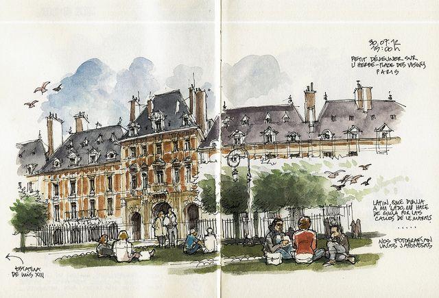 Paris Place Des Vosges Dibujo Urbano Dibujos Cuadernos De Dibujo