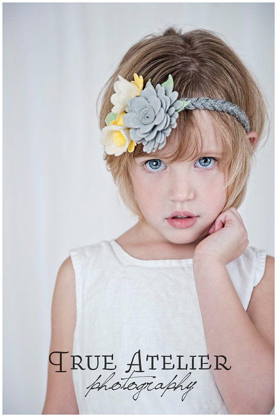 Kaylee soft felt yellow and grey braided headband for little girls ... b7463677b95