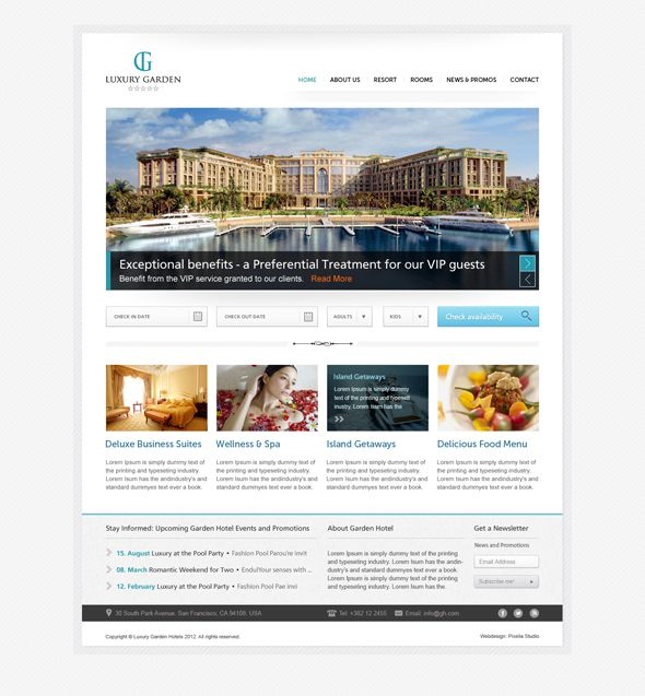 Hotel Website Psd Template By Nikola Kumburovic Via Behance