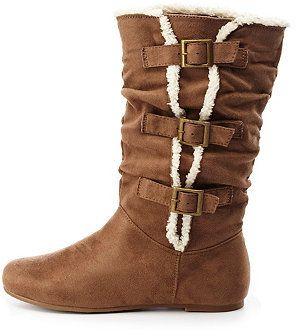 Charlotte Russe Faux Fur Trim Mid-Calf Boots on shopstyle.com