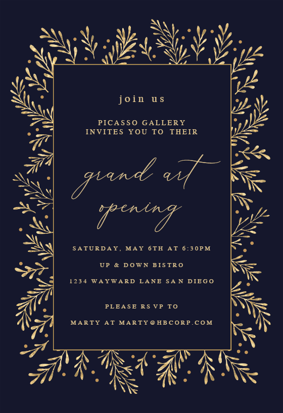 Gold Leaf Border Business Event Invitation Template Free Greetings Island Business Events Invitation Event Invitation Templates Event Invitation
