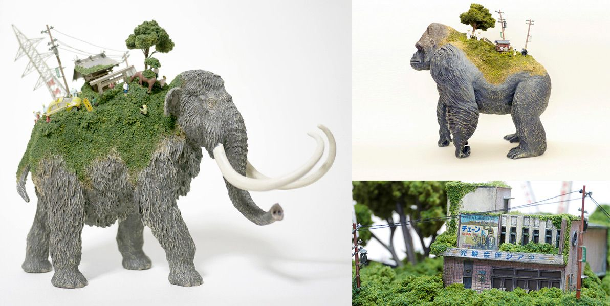 Toy Mammals and Dinosaurs Burdened with Miniature Civilizations by Maico Akiba