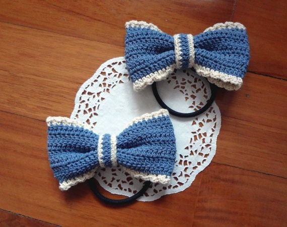 Crocheted Ribbon Hair Tie by Poppica on Etsy