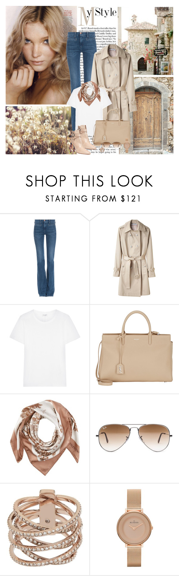 """""""Just before Autumn..."""" by dezaval ❤ liked on Polyvore featuring Beauty Secrets, M.i.h Jeans, Yves Saint Laurent, Valentino, Ray-Ban, Michael Kors, Skagen and Donald J Pliner"""