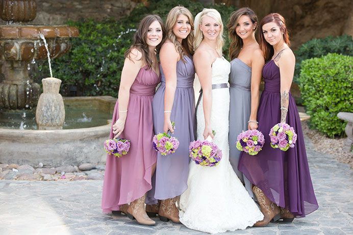 Diffe Shades Of Purple Bridesmaid Dresses Smith Gaetrnerweddingws15