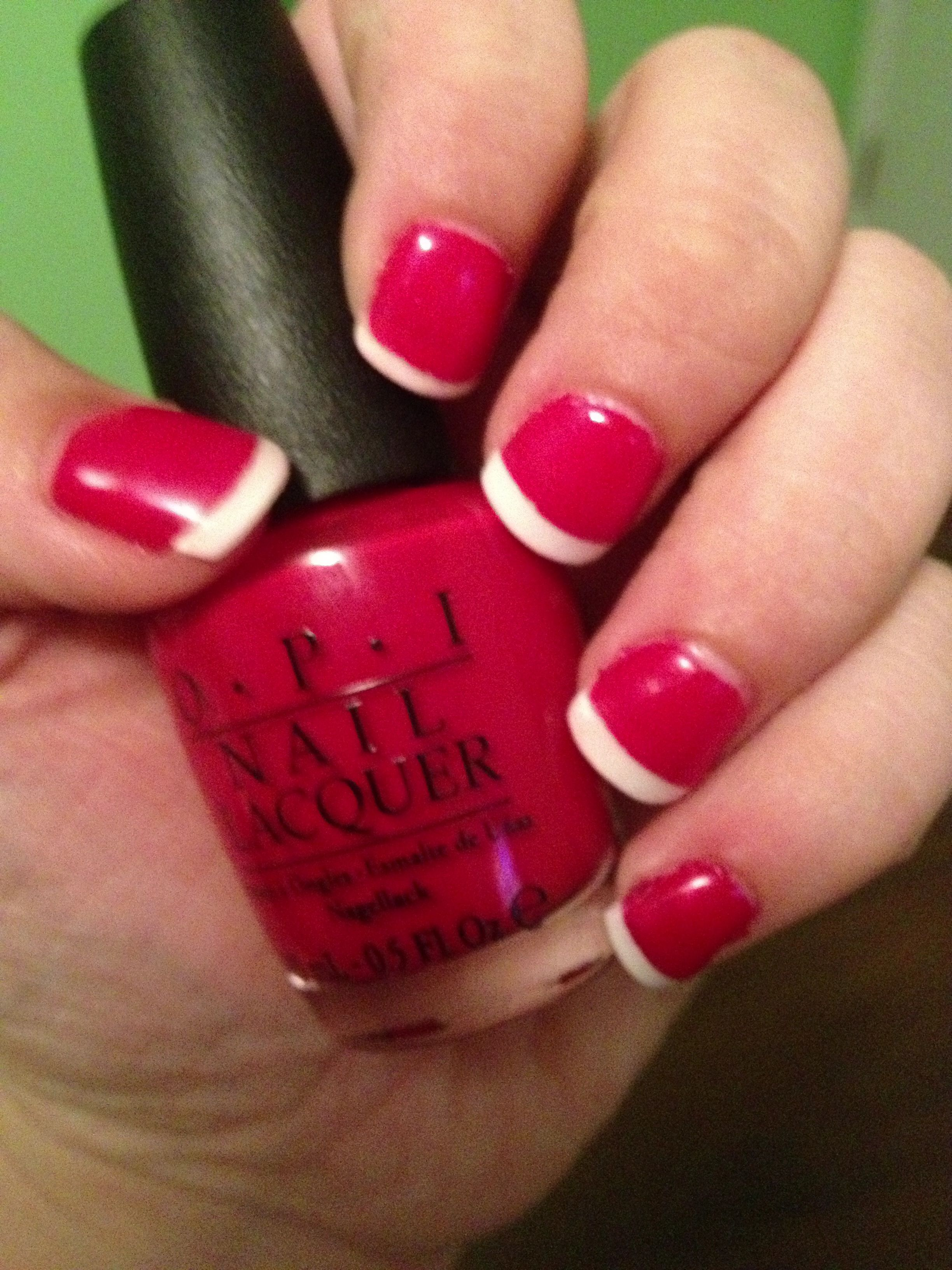 opi red nail polish sensationail gel polish white tips